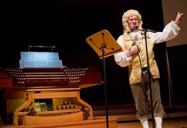 Martin Setchell as Bach in a performance of Bach's Back, Singapore Esplanade